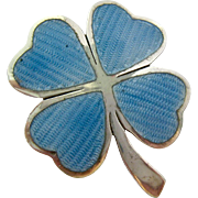 Sterling Silver 925 and Blue Enamel Four Leaf Clover Brooch Miguel Arias