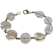 Large Faceted Rock Crystal Bead & Sterling Bracelet