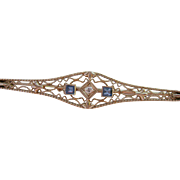 14K White Gold Diamond Blue Gemstone Filigree Bar Pin
