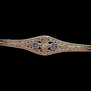 14K White Gold Diamond Blue Gemstone Filigree Bar Pin