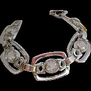 Fabulous Art Deco Style 835 Silver & Rock Crystal Bracelet