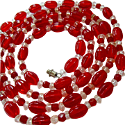50% SALE Long Red & Clear Glass Bead Necklace 41 Inches