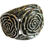 Sterling Silver 925 Sculpted Flower Ring Wide with Open Work