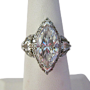 Sterling Silver 925 CZ Multi Stone Ring Huge Presence--A Dazzler