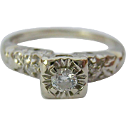 Vintage 14K White Gold Diamond Engagement Promise Ring