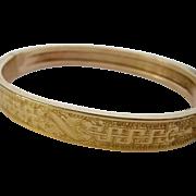 Victorian Gold Filled Etched Bangle Bracelet Signed H&B Pat. July 21, 1874