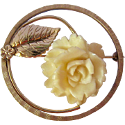 Winard 12K Gold Filled White Carved Floral Brooch