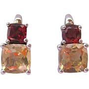 Sterling Silver 925 Garnet & Citrine Post Earrings