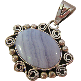 Sterling Silver 925 Blue Lace Agate Pendant