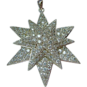 Sterling Silver 925 Layered Snowflake Pendant Large