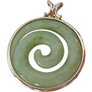 Sterling Silver 925 Carved Green Gemstone Pendant