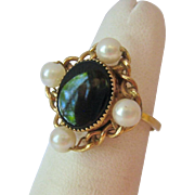 Black Onyx and Cultured Pearl Ring Probably Gold Filled Adjustable