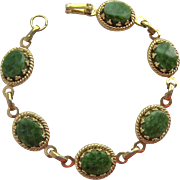 Gold Tone & Green Gemstone Bracelet