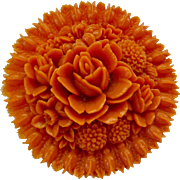 Molded Celluloid Early Plastic Floral Brooch