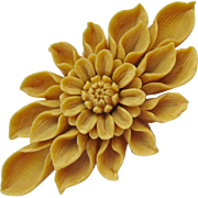Molded Celluloid Early Plastic Floral Brooch Highly Detailed