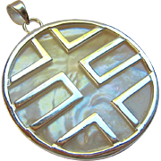 Sterling Silver 925 Mother of Pearl MOP Pendant