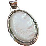 Sterling Silver 925 Mother of Pearl MOP Large Oval Pendant Signed
