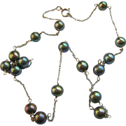 14K White Gold Black Peacock Pearl Station Necklace