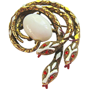 Triple Serpent Brooch Signed ART Gold Tone Enamel