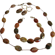 Jasper Gemstone & Sterling Necklace Bracelet & Earrings Set