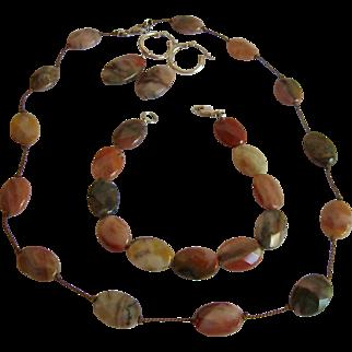 Jasper Gemstone & Sterling Necklace Bracelet & Earrings Set