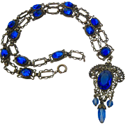 Vintage Cobalt Blue Paste Silver Tone Ornate Necklace