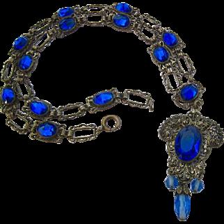 Vintage Cobalt Blue Paste Silver Tone Ornate Necklace