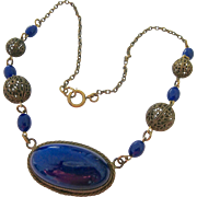 Vintage Cobalt Glass and Brass Tone Filigree Necklace