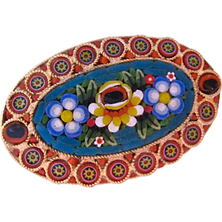 Large Oval Micromosaic Brooch Italy