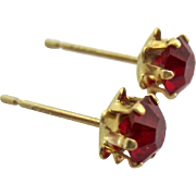 14K Gold Simulated Ruby Post Earrings Buttercup Setting
