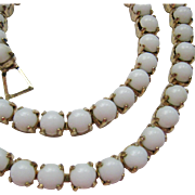 White Milk Glass Choker Necklace