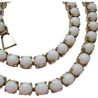 White Milk Glass Choker Necklace