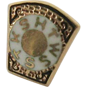 Tiny 14K Enamel Fraternal Badge Screw on Back Pin