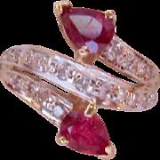 14K Gold Ruby Diamond Ring