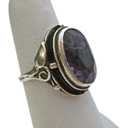 Arts and Crafts Sterling Silver 925 Amethyst Ring