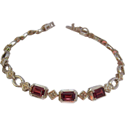 Sterling Silver 925 Garnet Bracelet with 2 Small Diamonds
