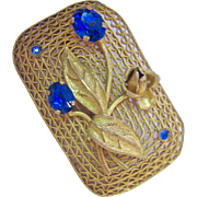 Art Nouveau Brooch Gold Tone Cannetille with Blue Rhinestones