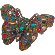 Vibrant Vintage Multi-Color Rhinestone Butterfly Pin Brooch Pot Metal