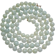 14K Clasp Pale Celadon White Gemstone Hardstone Bead Necklace Hand Knotted 32 Inches