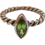 Sterling Silver 925 Rope Band & Marquise Peridot Ring