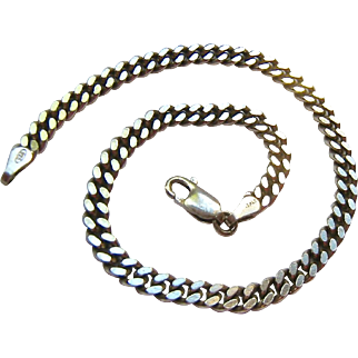 Sterling Silver 925 Flat Curb Link Bracelet Italy