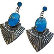 Sterling Silver 925 Turquoise Stone Dangle Post Earrings Native American Design