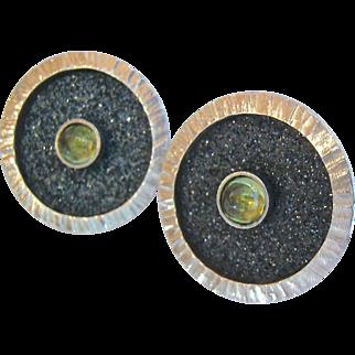 Dramatic Sterling Silver Peridot Post Earrings