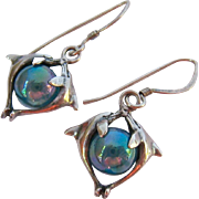 Sterling Silver 925 Dolphin Rock Crystal Orb Dangle Wire Earrings
