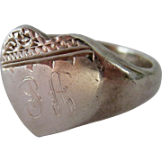 Vintage Sterling Silver 925 Love Heart Signet Ring Engraved
