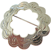 Sterling Silver 925 Scalloped Etched Circle Pin Brooch Ladye Fayre