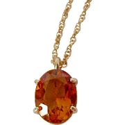 14K Gold Madeira Citrine Pendant and Chain Necklace