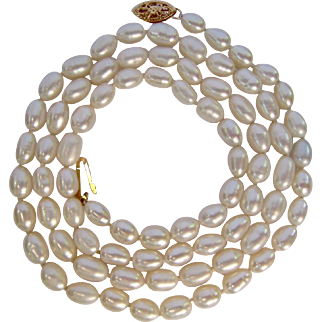 Hand Knotted Strand Cultured Pearls 14K Gold Clasp 24 Inches