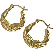 14K Gold Fancy Hoops Snap Bar Closure