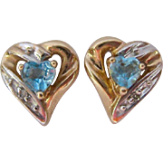 10K Gold Blue Topaz and Diamond Heart Earrings Two Tone - Red Tag Sale Item